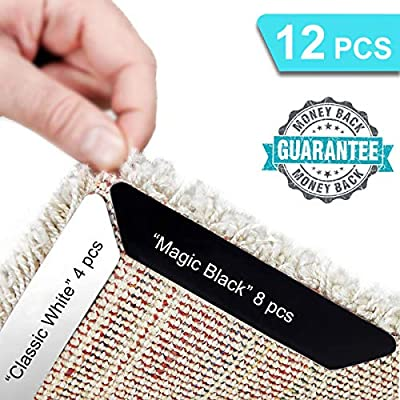 Rug Gripper - 8+4 Pcs Non Slip Anti Curling Rug Grippers   Strong Stickness Renewable Adhesive Carpet Pad for Curled Corners & Edges - Ideal Area Rug Stopper, Ensure Safety and Keep Floor Neat & Clean