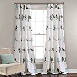 Lush Decor Rowley Birds Room Darkening Window Curtain Pair, Panel 84″ x 52″, Blue and Gray Review