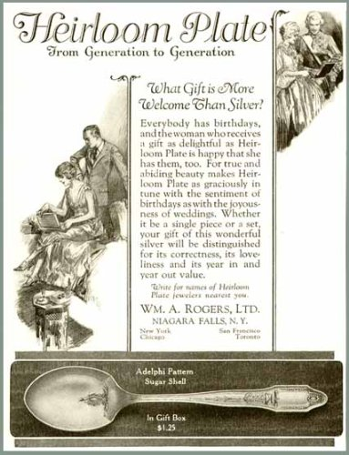 ADELPHI PATTERN IN 1925 HEIRLOOM SILVERPLATE AD Original Paper Ephemera Authentic Vintage Print Magazine Ad / Article