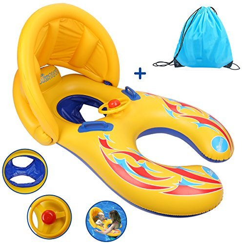 Totoose Mother and Baby Pool Float Inflatable Infant Float Swimming Ring with Canopy and Storage Bag by Totoose (Image #3)