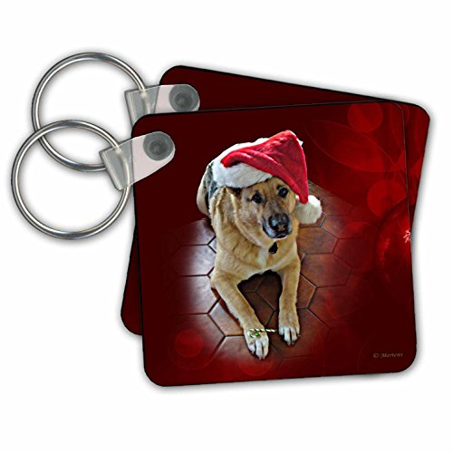 Sandy Mertens Christmas Animals - Santa Hat on a German Shepherd Dog with a Candy Cane - Key Chains - set of 2 Key Chains (kc_269513_1)