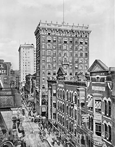 Providence Historic Black & White Photo, Westminster Street at the Union Trust Company Building, c1910-44in x 60in