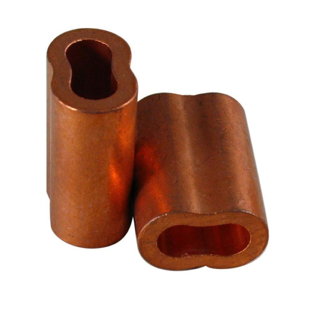 Seleq Copper Swage Sleeve for Wire Rope Crimping Loop 3/32' Set of 50
