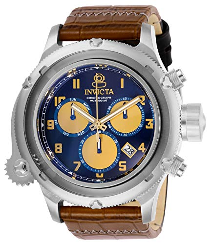 Invicta Men's Russian Diver Stainless Steel Quartz Watch with Leather Strap, Brown, 26 (Model: - Diver Russian Watch