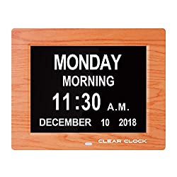 Clear Clock Newest Version Extra Large Digital Memory Loss Calendar Day Clock With Optional Day Cycle + Alarm Perfect For Seniors + Impaired Vision Dementia Clock (Brown Wood Color)