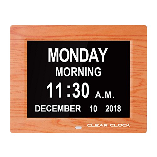 - Clear Clock [Newest Version] Extra Large Digital Memory Loss Calendar Day Clock With Optional Day Cycle Mode Alarm Perfect For Seniors Elderly Impaired Vision Dementia and Alzheimer's (Oak)