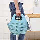 Wensltd Clearance! Portable Storage Bathroom Kitchen Hollow Plastic Color Fashionable Portable for Basket (Blue)