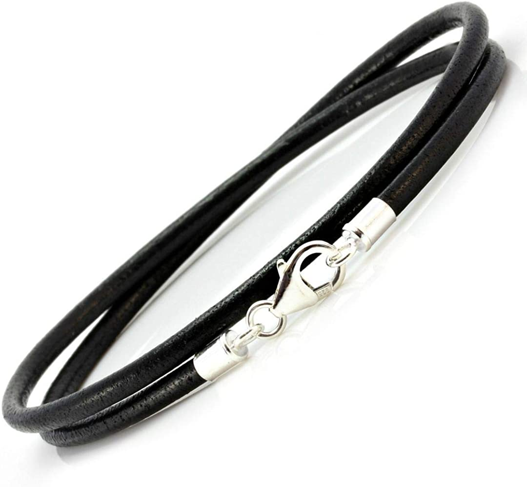 CMJ London 3mm Leather Bracelet with Sterling Silver Clasp Double Wrapped Black Greek Leather