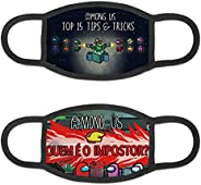 AIYIZHU Among Us Face Cover Christmas 2 PCS with Filter Pocket FestivalGifts for Kids