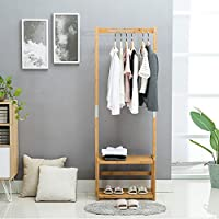 Nnewvante Coat Stand Bamboo Coat Rack Bench Hall Tree Entryway 2 Tier Shelf Organizer, 29.5x13.8x70in, Walnut