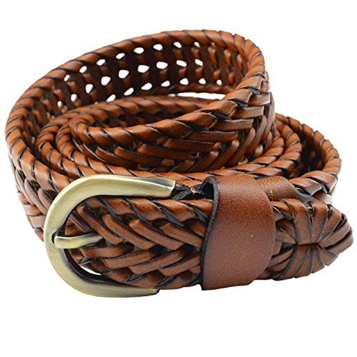 T-PERFECT LIFE Women's Trendy Retro All-matching Leather Braided Belt with Bronze Buckle (43 inch, brown) (Brown Braided Women Belt)