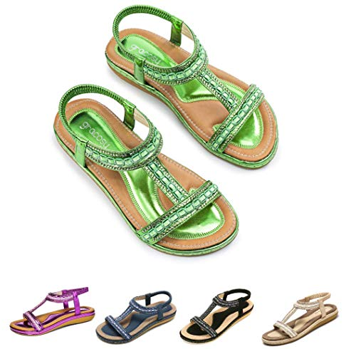gracosy Women Summer Flat Sandals, Slippers Elastic Flip Flops Bohemian Thong Slip on Rhinestone Low Wedge Beach Sandal A-Metal Green 7 M US
