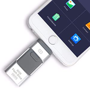 iOS Flash Drive for iPhone Photo Stick 512GB Memory Stick USB 3.0 Flash Drive Thumb Drive for iPhone iPad Android and Computers (128GB, Silver)