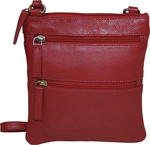 Crossbody Genuine Bag Red Pielino Leather Women's tqY4xxvP