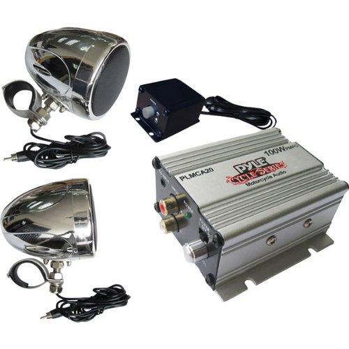 Pyle Genuine 100-Watt Amplifier with Dual Handle-Bar Mount Weatherproof Speakers