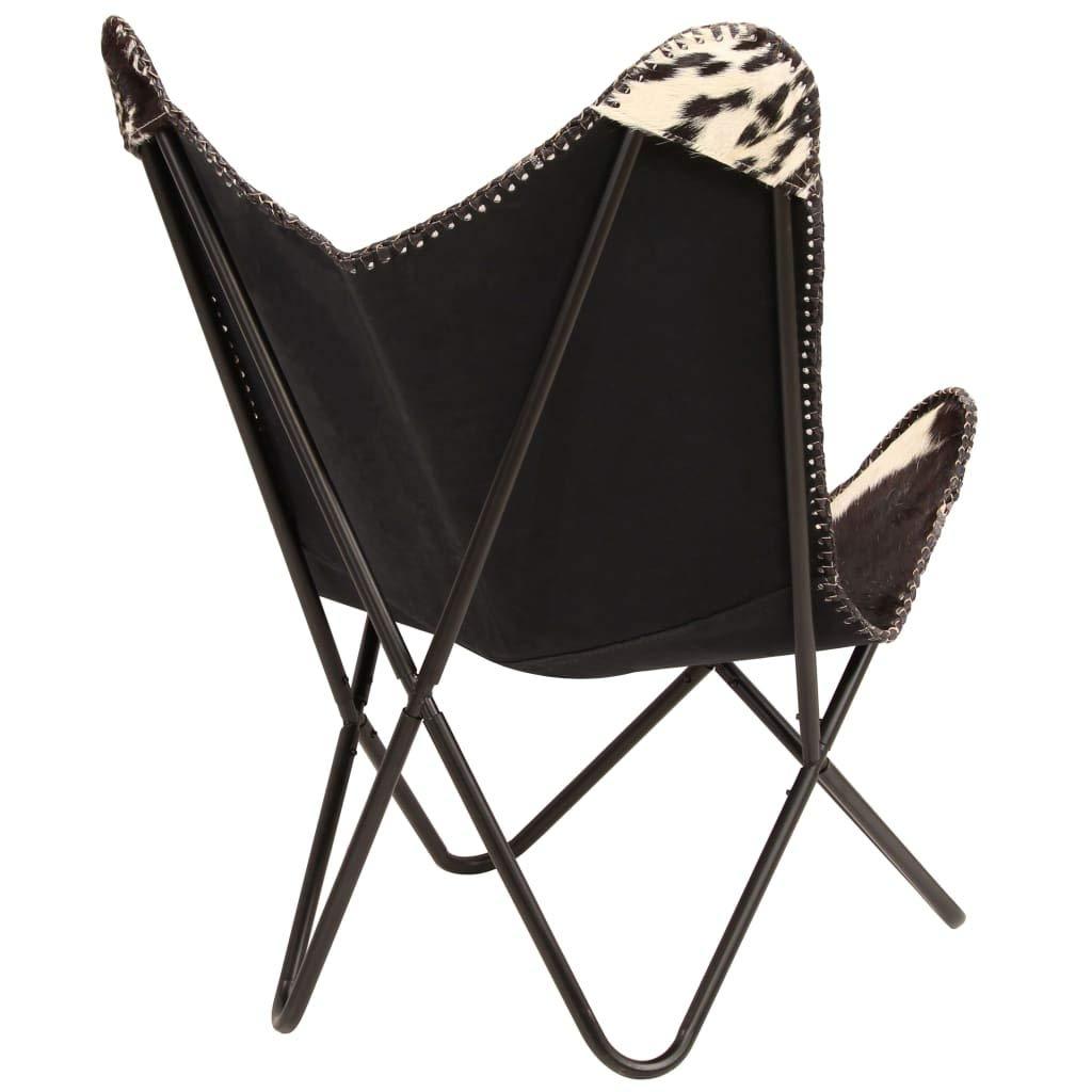 vidaXL Silla de Mariposa de Piel Cabra Auténtica Negra/Blanca Decoración Casa