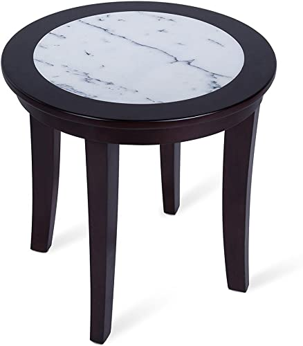 Olee Sleep Natural Marble Top Round Coffee Table Tea Table End Table Side Table Solid Wood Table Office Table Computer Table Vanity Table, Dining Table, White Espresso