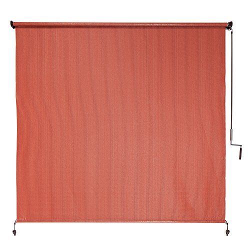 Coolaroo Outdoor Cordless Roller Shade 8ft by 6ft Terracotta - Exterior Sunscreen