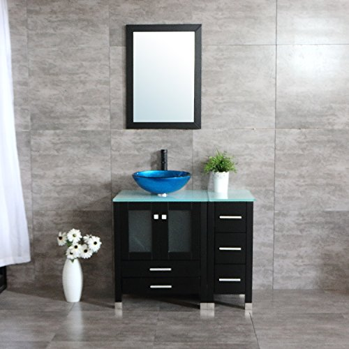 "Sliverylake 36"" Bathroom Vanity and Sink Combo WOOD Cabinet CounterTop Tempered Glass Sink Set (Glass Wood Vanity Cabinet)"