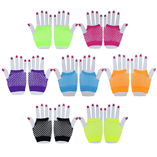 IYSHOUGONG 14 Pairs Fingerless Fishnet Gloves Short Mesh Gloves Women's 80s Accessories for Parties Costumes