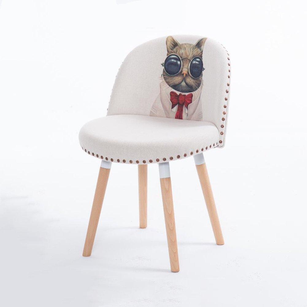 DALL ダイニングチェア JY 29クリエイティブファッション 動物のパターン コットンリネン 組み立てることができます 柔らかい スポンジパッド 背もたれレジャー木製椅子 (色 : 4) B07DD99Z9M4