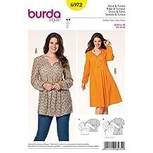 Burda Ladies Easy Sewing Pattern 6972 - Tunic Top & Dress Plus Sizes: 18-30