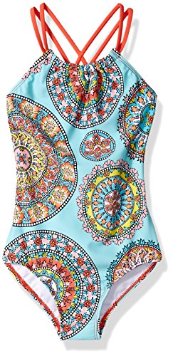 Kanu Surf Big Girls' Jasmine Beach Sport Halter One Piece Swimsuit, Multi, 10