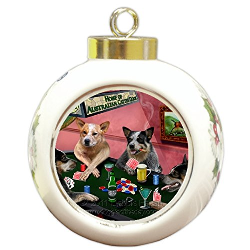 Home of Australian Cattle Dog Christmas Holiday Ornament 4 Dogs Playing Poker by Doggie of the Day