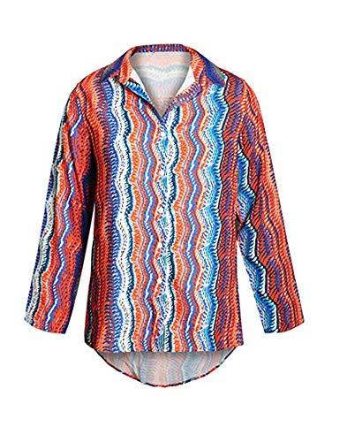 Rayures Couleur Shirt Col Couleur Casual V T Bloc de Chemisier en Blouse Bouton Haut MINASAN Femmes Tops Blouse f4qx7v1