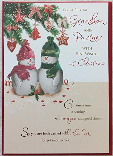 Grandson & Partner Quality With Nice Verse Christmas Greetings Card Xmas Snowman