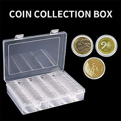 starte Caja De Almacenamiento De Monedas CÁPsulas para Monedas(100Unidades) para ColecciÓN De Monedas De 27MM Redondo para Monedas Portamonedas con Caja De Almacenam: Amazon.es: Hogar