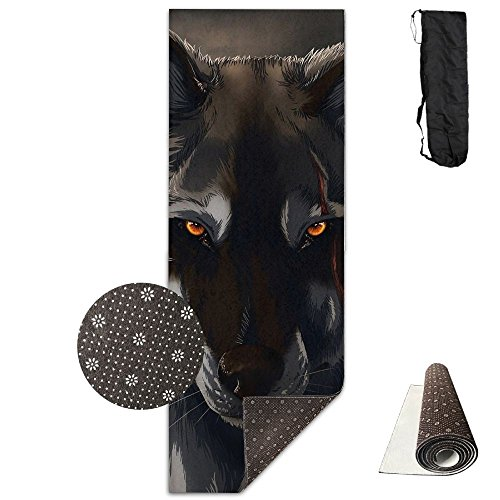 Gorgeously Non Slip Yoga Mat Wild Wolf Premium Printed 24 X 71 Inches Great for Exercise Pilates Gymnastics Carrying Strap]()