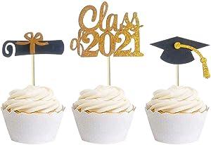30 PCS Graduation Cupcake Toppers Food Picks for Graduation Party Decorations