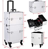8febbe0dde4b Amazon.com : Professional Cosmetic Suitcase Organizer with Universal ...