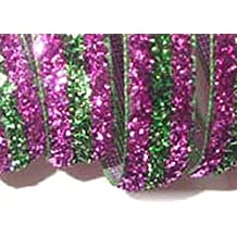 "Custom & Fancy {0.4"" Inch Width - 5 YDS} 1 Pack of Narrow ""Grosgrain"" Ribbon for Decorations & Gift Wrap Made of Polyester w/ Glitz Girly Diva Striped Glitter Vibrant Fun Style [Purple & Green]"