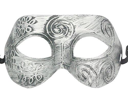 Retro Roman gladiator Halloween party masks Silver Men's Masquerade mask by friendshops -