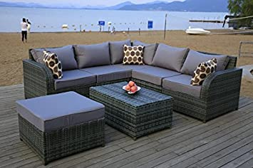 rattan garden furniture set 6 seater sofa modular patio conservatory daybed grey - Rattan Garden Furniture 6 Seater