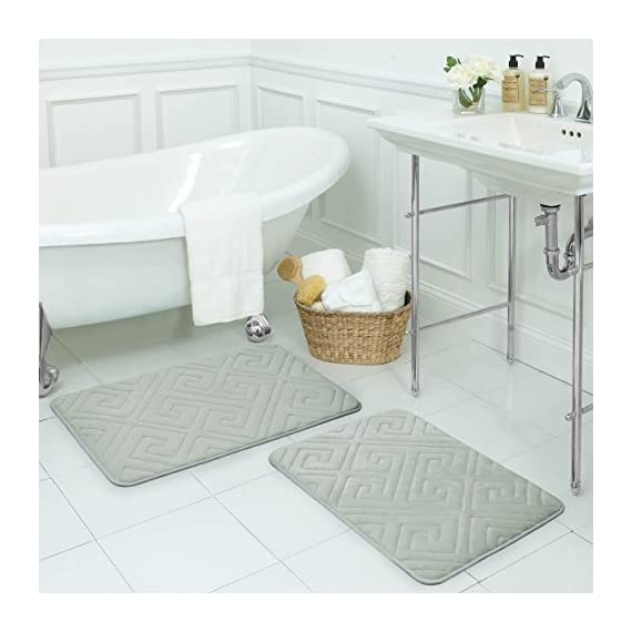 """Bounce Comfort Caicos Extra Thick Premium Memory Foam Bath Mat with BounceComfort Technology, 20 x 32"""" Light Grey - Includes one Bounce Comfort plush memory foam bath mat Sizes include 17 x 24 inch or 20 x 32 inch Microfiber surface wicks away water and dries quickly - bathroom-linens, bathroom, bath-mats - 51JVkkOzdZL. SS570  -"""