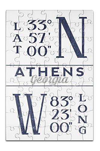 Athens, Georgia - Latitude and Longitude (8x12 Premium Acrylic Puzzle, 63 - Images Athens Georgia