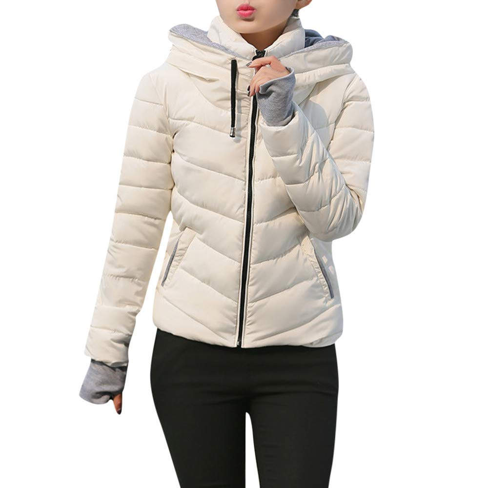 Funnygals - Womens Jacket Parka Padded Puffer Jackets with Hood - Quilted Hooded Outwear Winter Knitted Zip Up Warm Coat White by Funnygals - Clothing