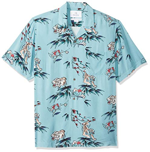 (28 Palms Men's Standard-Fit Vintage Washed 100% Rayon Tropical Hawaiian Shirt, Jungle Cat Light Blue, Large)