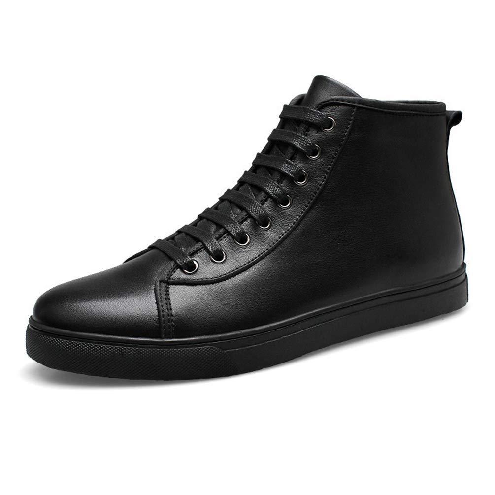 Männer Freizeitschuhe Winter Herbst Ankle Leather Man Stiefel Turnschuhe (Farbe   schwarz Fur, Größe   10=45 EU)