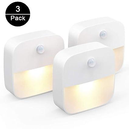 unibelin Led Nachtlicht mit Bewegungsmelder, Nachtlampe mit Dämmerungssensor Energieeffizient automatisch Nachtleuchte Schran
