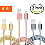 TekSonic [3 Pack] 6ft Extra Long Micro USB to USB Cable Nylon Braided Quick Charge Cable/Cord for Wall Chargers and Data Sync Cable Charge for Android, Samsung, HTC, LG, Nokia, Motorola, Tablets