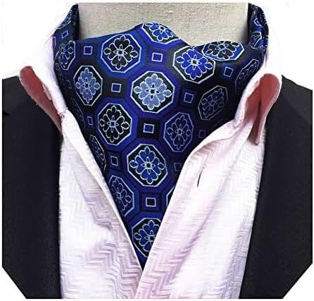MENDENG Men's Geometric Jacquard Woven 100% Silk Self Cravat Tie Formal Ascot