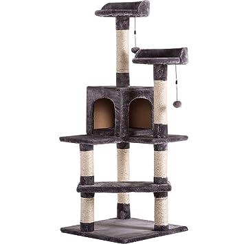 DWW Gato Grande Gatito Árbol Salto Ejercicio Torre Sueño Condo Sisal Estante de Escalada, Postes