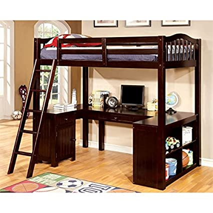 amazon com furniture of america franklyn twin loft bed with desk in rh amazon com wooden loft bed with desk loft bunk bed with desk