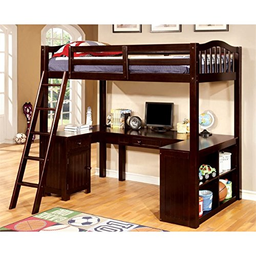 Single Bookcase Headboard Beds (Furniture of America Franklyn Twin Loft Bed with Desk in Espresso)