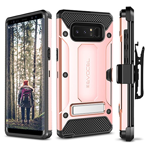 Evocel Galaxy Note 8 Case, [Explorer Series Pro] Premium Dual Layer Credit Card Case with Magnetic Kickstand for Samsung Galaxy Note 8 (SM-N950), Rose Gold (EVO-SAMNOTE8-CK25)