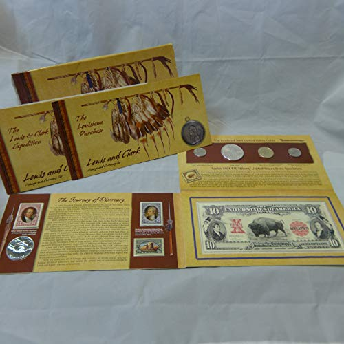 2004 Coinage & Currency Set Lewis & Clark 2 Nickels, Silver Dollar, Sacagawea Dollar, Medal Mint State US (Lewis And Clark Nickel)
